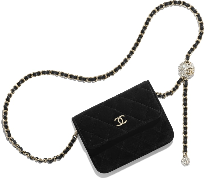 image 1 - Clutch with Chain - Velvet, Strass & Gold-Tone Metal - Black