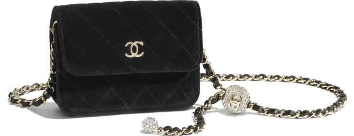 image 3 - Clutch with Chain - Velvet, Strass & Gold-Tone Metal - Black