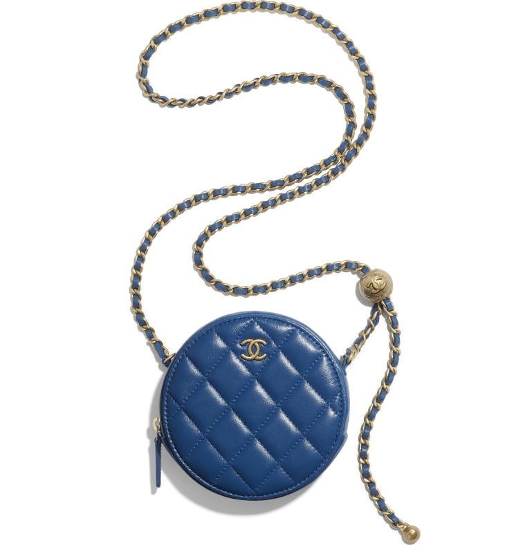 image 2 - Pochette avec chaîne - Agneau & métal doré - Bleu