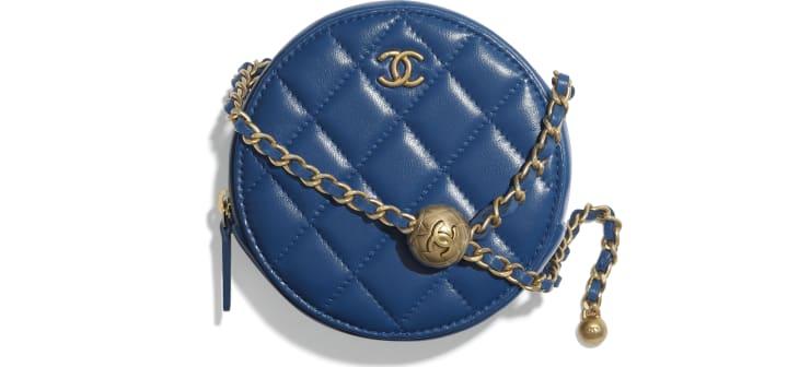 image 1 - Pochette avec chaîne - Agneau & métal doré - Bleu