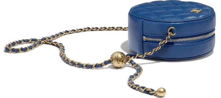 image 4 - Pochette avec chaîne - Agneau & métal doré - Bleu