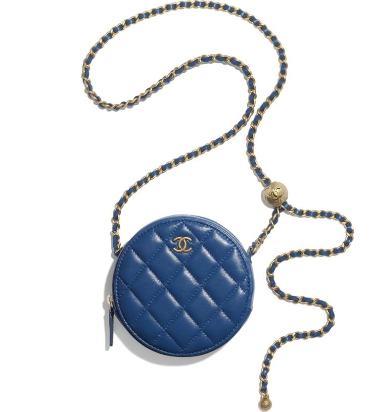 image 3 - Pochette avec chaîne - Agneau & métal doré - Bleu