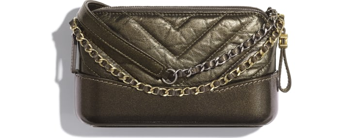 image 2 - Clutch with Chain - Glittered Aged Calfskin, Gold-Tone & Silver-Tone Metal - Gold