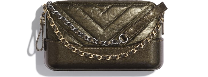 image 1 - Clutch with Chain - Glittered Aged Calfskin, Gold-Tone & Silver-Tone Metal - Gold