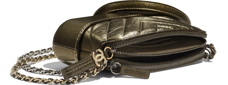 image 4 - Clutch with Chain - Glittered Aged Calfskin, Gold-Tone & Silver-Tone Metal - Gold