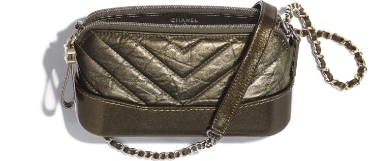 image 3 - Clutch With Chain - Glittered Aged Calfskin, Gold-Tone & Silver-Tone Metal - Gold