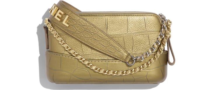 image 2 - Clutch with Chain - Metallic Crocodile Embossed Calfskin, Gold-Tone & Silver-Tone Metal - Gold
