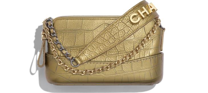 image 1 - Clutch with Chain - Metallic Crocodile Embossed Calfskin, Gold-Tone & Silver-Tone Metal - Gold