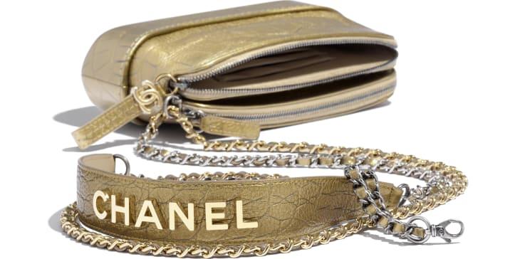 image 4 - Clutch with Chain - Metallic Crocodile Embossed Calfskin, Gold-Tone & Silver-Tone Metal - Gold