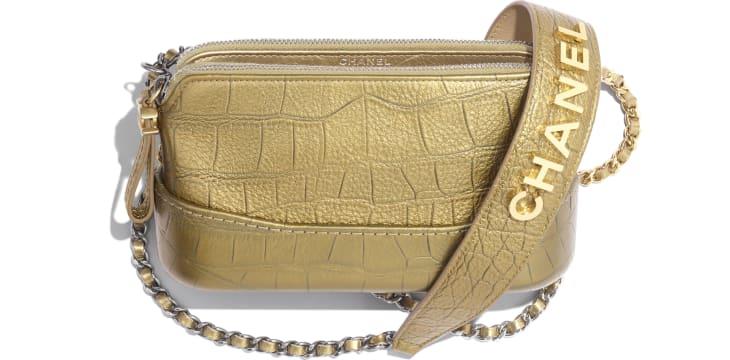 image 3 - Pochette avec chaîne - Veau métallisé embossé crocodile, métal doré & argenté - Doré