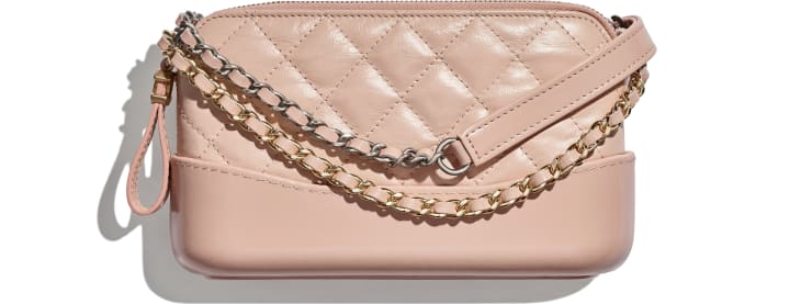 image 1 - Clutch with Chain - Aged Calfskin, Smooth Calfskin, Gold-Tone, Silver-Tone & Ruthenium-Finish Metal - Light Pink