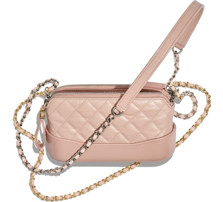 image 3 - Clutch with Chain - Aged Calfskin, Smooth Calfskin, Gold-Tone, Silver-Tone & Ruthenium-Finish Metal - Light Pink