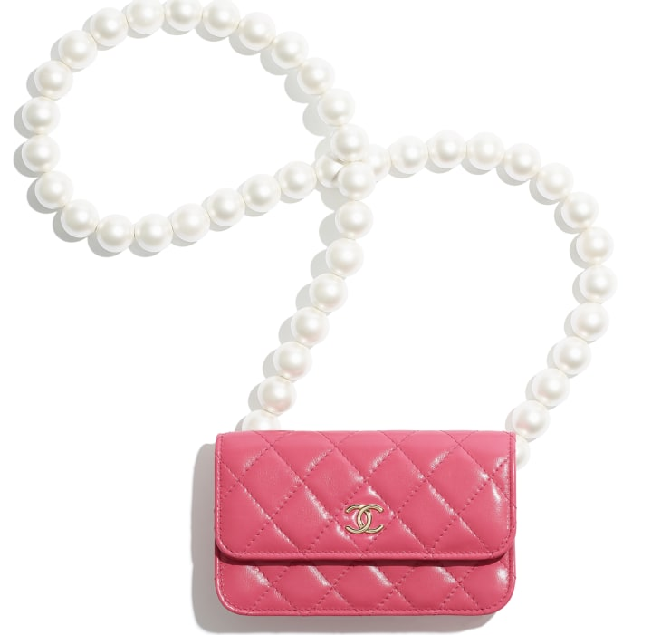 image 1 - Clutch with Chain - Calfskin, Imitation Pearls & Gold-Tone Metal - Pink