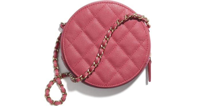 image 2 - Clutch with Chain - Grained Calfskin & Gold-Tone Metal - Pink
