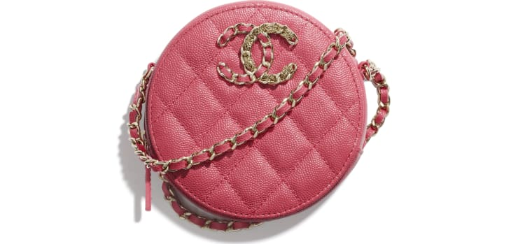 image 1 - Clutch with Chain - Grained Calfskin & Gold-Tone Metal - Pink