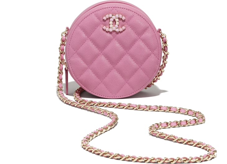 image 4 - Clutch With Chain - Grained Calfskin & Laquered Gold-Tone Metal - Pink