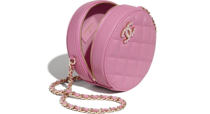 image 3 - Clutch With Chain - Grained Calfskin & Laquered Gold-Tone Metal - Pink