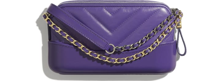 image 2 - Clutch with Chain - Aged Calfskin, Smooth Calfskin, Gold-Tone, Silver-Tone & Ruthenium-Finish Metal - Purple