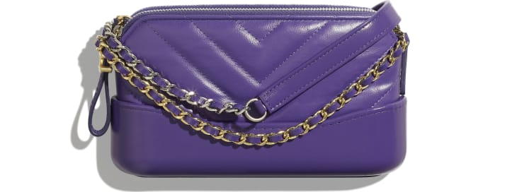 image 1 - Clutch with Chain - Aged Calfskin, Smooth Calfskin, Gold-Tone, Silver-Tone & Ruthenium-Finish Metal - Purple