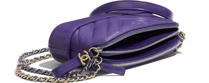 image 4 - Clutch with Chain - Aged Calfskin, Smooth Calfskin, Gold-Tone, Silver-Tone & Ruthenium-Finish Metal - Purple