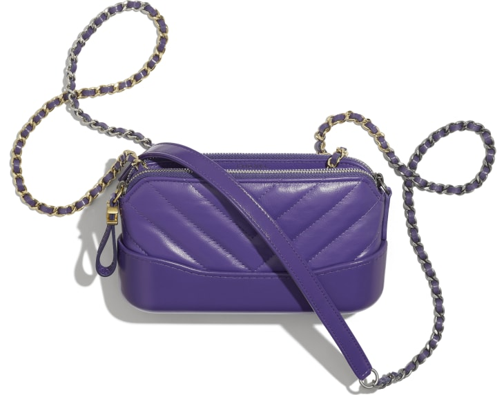 image 3 - Clutch with Chain - Aged Calfskin, Smooth Calfskin, Gold-Tone, Silver-Tone & Ruthenium-Finish Metal - Purple