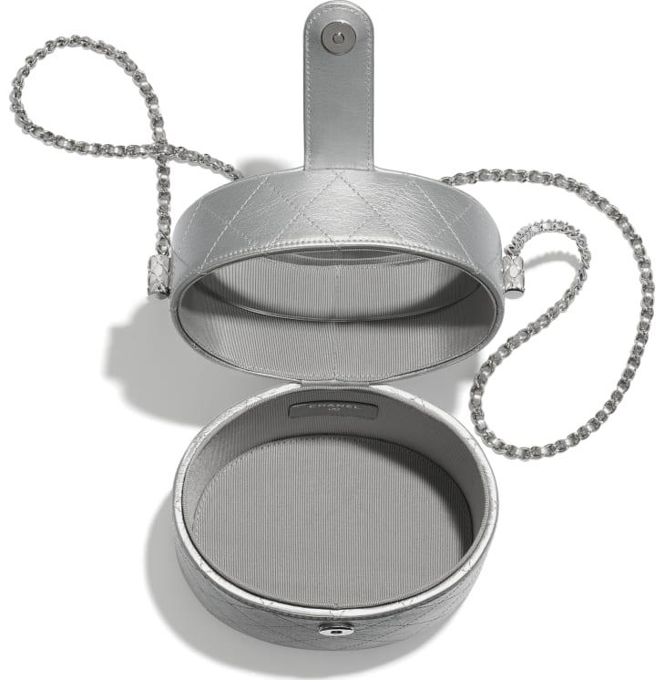image 3 - Clutch with Chain - Metallic Lambskin & Silver-Tone Metal - Silver