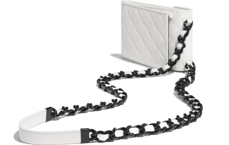 image 4 - Clutch with Chain - Grained Calfskin & Lacquered Metal - White & Black
