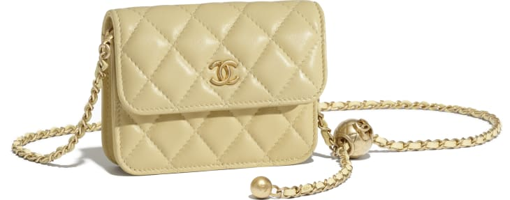 image 3 - Clutch With Chain - Lambskin - Yellow