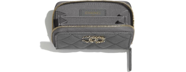 image 3 - Coin Purse - Grained Calfskin & Gold-Tone Metal - Grey