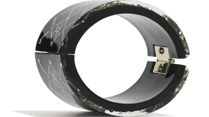 image 2 - Cuff - Resin, Strass & Metal - Black, Crystal & Gold