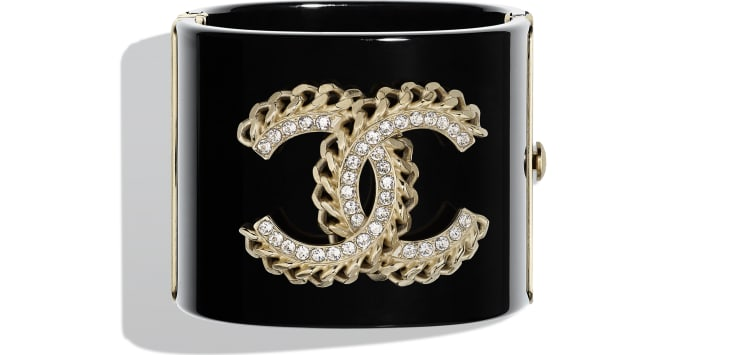 image 1 - Cuff - Resin, Strass & Metal - Black, Crystal & Gold