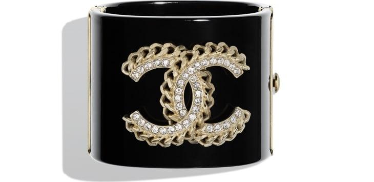 image 1 - Manchette - Résine, strass & métal - Noir, cristal & doré
