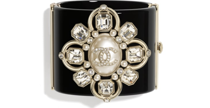 image 1 - Cuff - Resin, Strass, Imitation Pearls & Metal - Black, Crystal, Pearly White & Gold