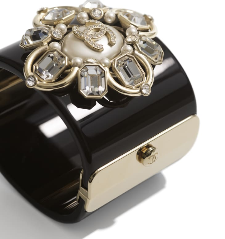 image 2 - Cuff - Resin, Strass, Imitation Pearls & Metal - Black, Crystal, Pearly White & Gold