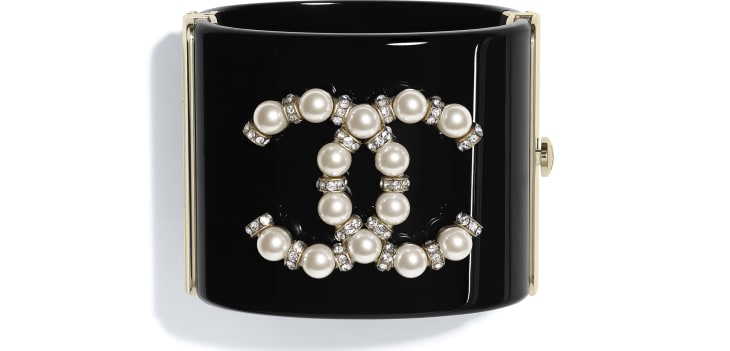image 1 - Cuff - Resin, Glass Pearls, Strass & Metal - Black, Pearly White, Crystal & Gold