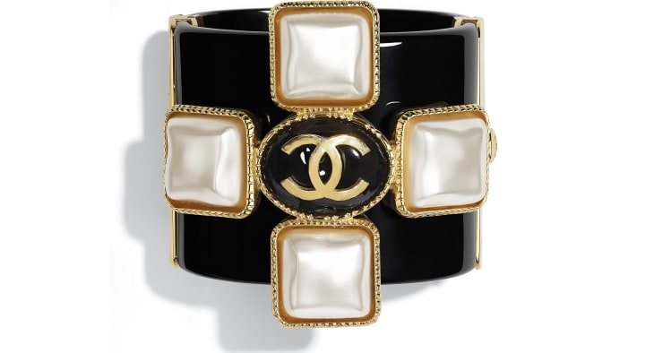 image 1 - Cuff - Resin & Metal -  Black, Pearly White & Gold