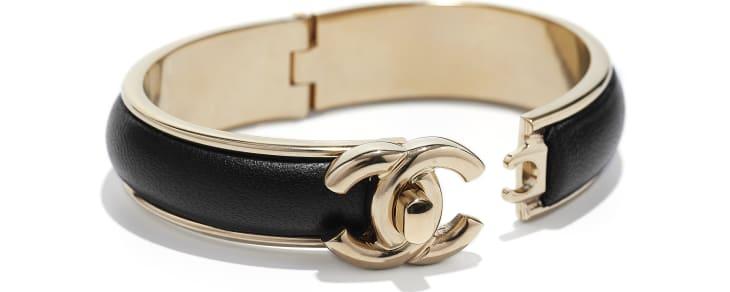 image 2 - Bracelete - Metal & Couro De Cordeiro - Dourado & Preto