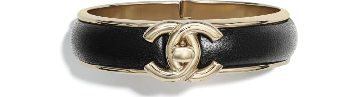 image 1 - Bracelete - Metal & Couro De Cordeiro - Dourado & Preto