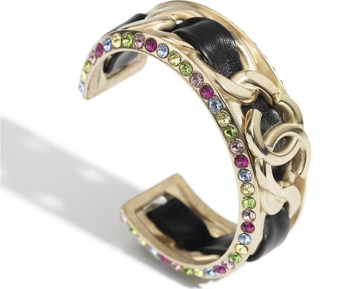 image 2 - Bracelete - Metal, Couro De Cordeiro & Strass - Dourado, Preto & Multicolorido