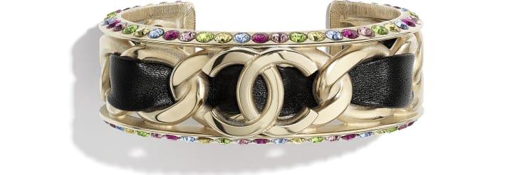 image 1 - Bracelete - Metal, Couro De Cordeiro & Strass - Dourado, Preto & Multicolorido