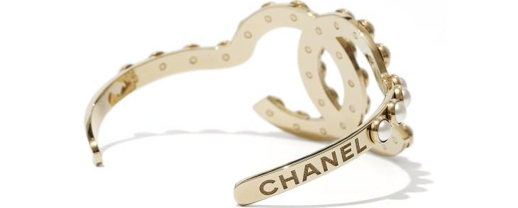 image 2 - Manchette - Métal & perles d'imitation - Doré & blanc nacré