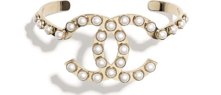 image 1 - Cuff - Metal & Imitation Pearls - Gold & Pearly White