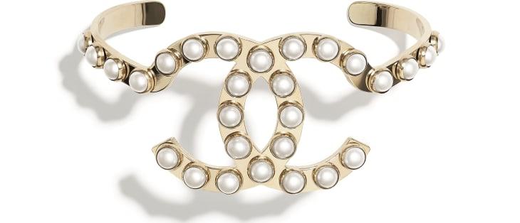 image 1 - Manchette - Métal & perles d'imitation - Doré & blanc nacré