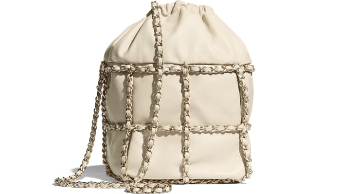 image 2 - Drawstring Bag - Lambskin & Gold Metal  - Beige