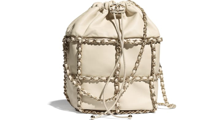 image 1 - Drawstring Bag - Lambskin & Gold Metal  - Beige