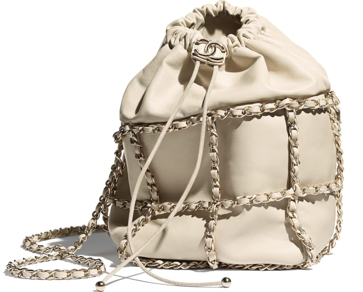 image 4 - Drawstring Bag - Lambskin & Gold Metal  - Beige