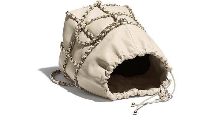 image 3 - Drawstring Bag - Lambskin & Gold Metal  - Beige