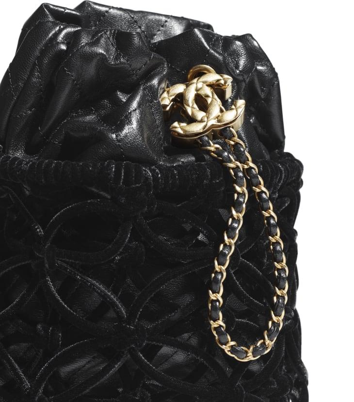 image 4 - Drawstring Bag - Braided Velvet, Goatskin & Gold-Tone Metal - Black