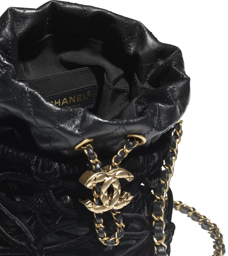 image 3 - Drawstring Bag - Braided Velvet, Goatskin & Gold-Tone Metal - Black