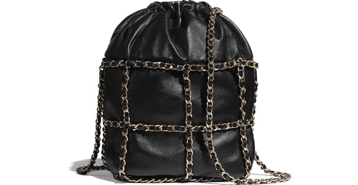 image 2 - Drawstring Bag - Lambskin & Gold Metal  - Black